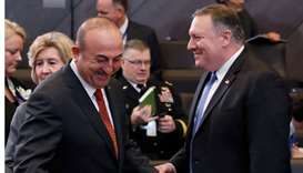 Turkish Foreign Minister Mevlut Cavusoglu and US Secretary of State Mike Pompeo