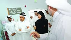 HE the Minister of Public Health Dr Hanan Mohammad al-Kuwari tours the new health centre with senior