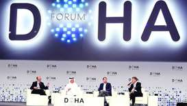 HE the Minister of Finance Ali Sherif al-Emadi during a panel discussion at the Doha Forum on Saturd