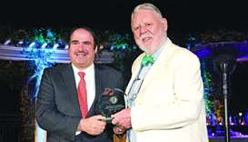 Al-Mass accepting the award on behalf of HIA during the gala reception at The Peninsula Hotel in Bev