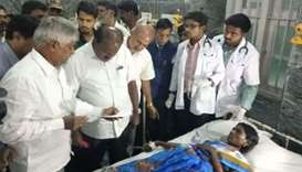 Chief minister of the Karnataka state H D Kumaraswamy visits the temple tragedy victims in KR genera
