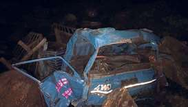 Remains of the truck crashed in Nepal