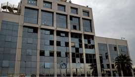 The Greek SKAI TV building in Athens after a bomb blast