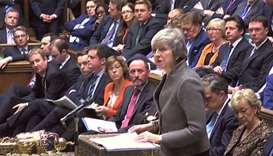 A video grab from footage broadcast by the UK Parliament's Parliamentary Recording Unit (PRU) Britai