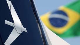 The logo of Embraer