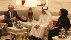 Sir Mark Andrew Lowcock (left) speaks to Ali bin Hassan al-Hammadi at a recent meeting in Doha