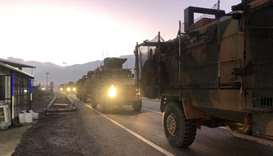 Turkish military convoy in Kilis at the Syria border