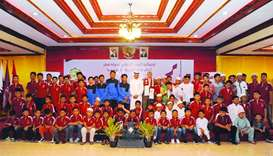 Qatar ambassador to Indonesia HE Ahmed bin Jassim al-Hamar with hundreds of orphans and their mother