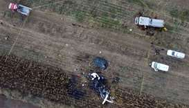 Ariel view of the scene of a helicopter accident in which the governor of the Mexican state of Puebl
