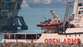 The ship of Spanish NGO Proactiva Open Arms arrives in the southern Spanish port of Algeciras in Cam