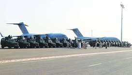 The armored personnel carriers lined up after delivery