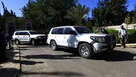 The motorcade of Martin Griffiths, the UN special envoy for Yemen, leaves the Sanaa International Ai
