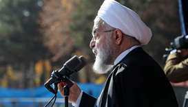Iran President Hassan Rouhani speaking during a rally in the city of Shahrud.