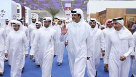His Highness the Amir Sheikh Tamim bin Hamad Al-Thani tours Doha International Book Fair,