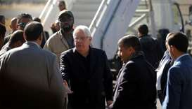 UN envoy to Yemen Martin Griffiths is seen during his departure at Sanaa airport, Yemen