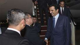 His Highness the Amir Sheikh Tamim bin Hamad al-Thani arrived on Wednesday evening in Kuala Lumpur o