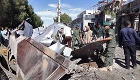 General view of damages after a suicide car bomber outside a police station in Chabahar