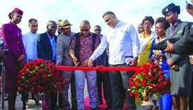 The welcome ceremony at Mombasa, Kenya.