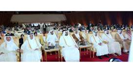 His Highness the Deputy Amir Sheikh Abdullah bin Hamad al-Thani and HE the Speaker of the Shura Coun