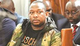Sonko is seen in the courtroom for a hearing after he was arrested on corruption-related charges, at