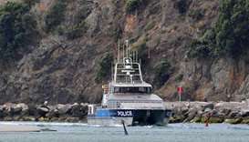 The police boat Deodar III arrives into Whakatane after police were unable to get onto White Island
