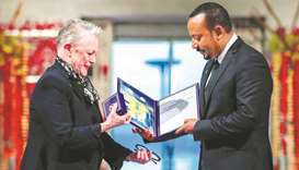 Ethiopian Prime Minister Abiy Ahmed Ali receives medal and diploma from Chair of the Nobel Comitteee