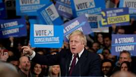 Britain's Prime Minister Boris Johnson speaks at a general election campaign event