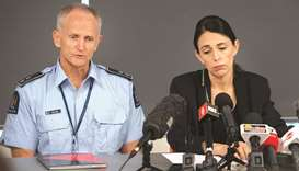 New Zealand Police Superintendent Bruce Bird with PM Jacinda Ardern speak to the media about the eru