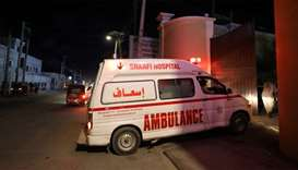 Ambulance carrying an injured person from an attack by Al Shabaab gunmen on a hotel near the preside