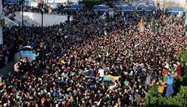Demonstrators shout slogans during a protest to reject the presidential election in Algiers, Algeria