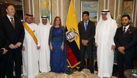 Ecuador Vice President Otto Sonneholzener with ambassador Ivonne A-Bakki, Qatar Ministry of Foreign