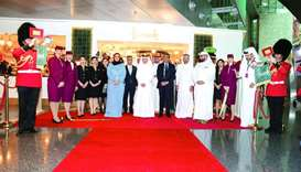 HE Sheikha Al Mayassa bint Hamad al-Thani and HE Akbar al-Baker with other dignitaries and officials