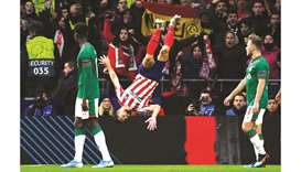 Atletico Madrid's Felipe celebrates after scoring against Lokomotiv Moscow during Champions League m