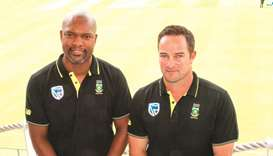 The South African Cricket coach Mark Boucher (right) and assistant coach Enoch Nkwe pose at the Newl