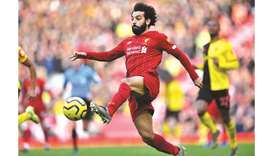 Liverpool's Mohamed Salah controls the ball during the English Premier League match against Watford