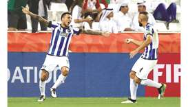 Monterrey's Leonel Vangioni (left) celebrates scoring their first goal during the FIFA Club World Cu