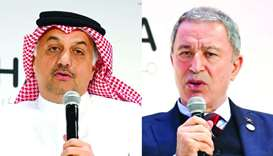 HE Dr Khalid bin Mohamed al-Attiyah and Hulusi Akar at Doha Forum on Sunday. PICTURES: Shemeer Rashe