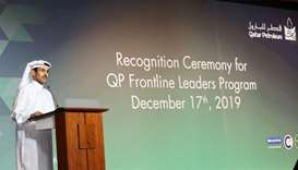 "HE al-Kaabi at the event where QP honoured more than 450 ""frontline leaders"", who have completed an"