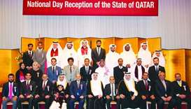 Guests at Qatar National Day reception in Tokyo.