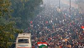 Demonstrators shout slogans during a protest against a new citizenship law in Jafrabad, an area of D