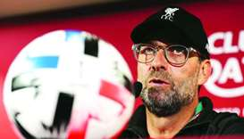 Liverpool's German manager Jurgen Klopp attends a press conference at the Khalifa International Stad