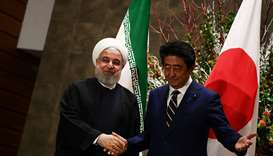Japanese Prime Minister Shinzo Abe and Iranian President Hassan Rouhani meet in Tokyo, Japan