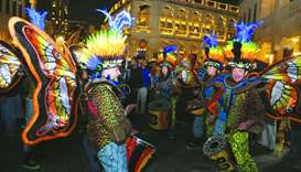 Artistes performing at Souq Waqif  Spring Festival. PICTURE: Shemeer Rasheed.