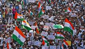 Demonstrators attend a protest march against a new citizenship law, in Chennai, India