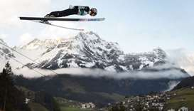 Japan's Taku Takeuchi competes in the men's FIS Ski Jumping World Cup competition in Engelberg
