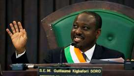 Ivory Coast parliament speaker Guillaume Soro speaks at the National Assembly in Abidjan, Ivory Coas