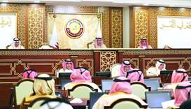 HE the Deputy Speaker of Shura Council Mohamed bin Abdullah al-Sulaiti chairing Monday's session