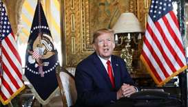 US President Donald Trump speaks to the media after participating in a video teleconference with mem