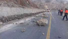 Ahram-Farashband road blocked by a landslide triggered by an earthquake in Iran's southern Bushehr p