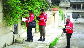 QRCS personnel during the monitoring the second winter polio vaccination campaign in Syria.